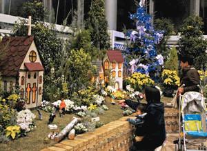 明かりがともされたドールハウスに見入る家族連れ=春日井市細野町の市都市緑化植物園で