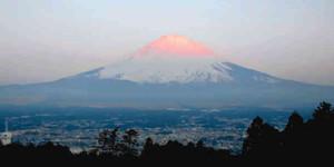 日の出に染まる富士山(ホテルLaLaから)