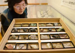 尾小屋鉱山の主要な鉱石をまとめた標本などが並べられたギャラリー=県尾小屋鉱山資料館で