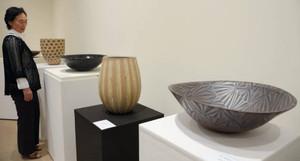 県内作家の陶芸作品などが並ぶ会場=菰野町大羽根園のパラミタミュージアムで