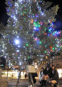 夜の市街地を彩るツリー=伊那市荒井のいなっせ北側多目的広場で