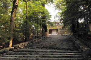 緑が生い茂る伊勢神宮内宮の正殿