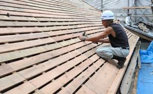 修繕工事が進む奥書院の屋根=多賀町の多賀大社で