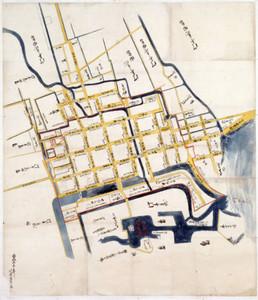 紙本著色 長浜町絵図(長浜城歴史博物館提供)