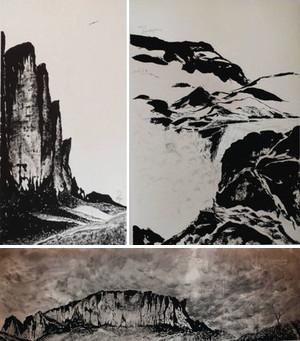 (左)「鳥は知っていた-ロライマ山BCにて-」(右)「サルトグランデ-パイネ山景-」(下)「未知の扉を開け-ロライマ山アタック前日-」