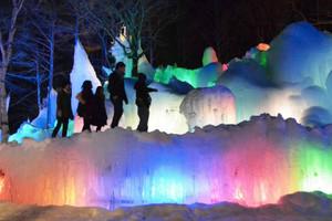 巨大な氷の造形がカラフルに照らされた氷点下の森=高山市朝日町で