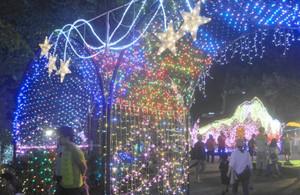 幻想的な光の空間を演出するイルミネーション=箕輪町で