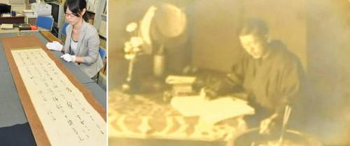 (左)徳田秋声が「爛」の一節を記した掛け軸(右)見つかった徳田秋声の写真=いずれも金沢市東山で