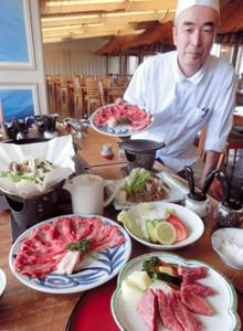 みかわ牛のステーキとすき焼きが食べ放題のプラン「わらい喰い御膳」=蒲郡市の和のリゾートはづで