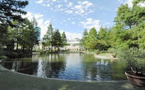 水面に周囲の景色を映し出すウオーターガーデン=名古屋市中区大須で