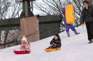 そりを上手に操って滑り降りる子どもたち=菰野町の御在所岳で