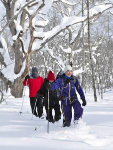 雪原でスノーシューを楽しむ参加者=長野市内で