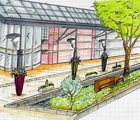 ルキーナ金沢前に置かれる「金沢花和傘」=デザイン画