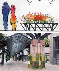 (上)金沢駅東広場に置かれる「円側」=デザイン画(下)リファーレ前に置かれる「金沢小箱」