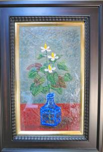 ドクダミの静物画=大垣市藤江町の画廊春で