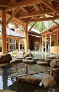 露天風呂では立湯や寝湯などさまざまな入浴が楽しめる=熊野市紀和町湯ノ口で