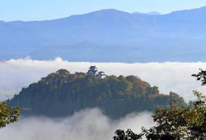 市街地が霧に包まれ、雲海に浮かぶ天空の城のようになった越前大野城。亀山の木々が色づき始めている=大野市の犬山から