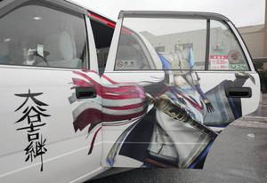 長浜営業所を拠点に運行する大谷吉継のラッピング車両=米原市で