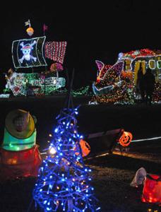 園内を色鮮やかに照らす人気キャラクターなどの電飾作品=辰野町の荒神山公園で