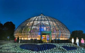 冬の夜空に浮かび上がる展示温室。室内はクリスマスムードたっぷりのイルミネーションが施された=坂井市の県総合グリーンセンターで