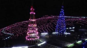白米千枚田の散策路に設置されたクリスマスツリー=石川県輪島市白米町で(同市提供)