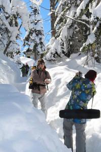雪の回廊で写真を撮る観光客ら=高山市の新穂高ロープウェイ西穂高口駅前の千石園地で