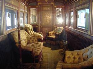 特別公開される明治天皇の御料車の内部=犬山市内山の博物館明治村で