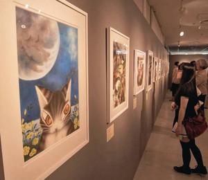 絵本の主人公「ねこのダヤン」の世界が広がる池田あきこさんの原画展=名古屋・名駅のジェイアール名古屋高島屋で