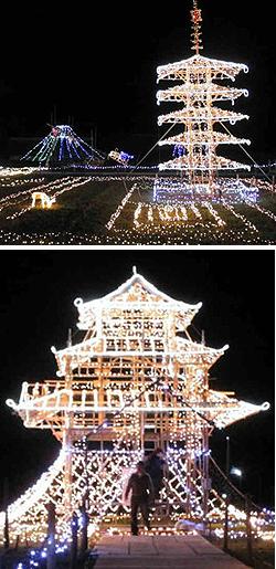 豪華に輝くイルミネーション(上)人が登れる城をかたどったイルミネーション=いずれも津市美里町の南長野生活改善センター一帯で