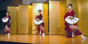 長唄「松」(流舞)を舞う(右から)藤間仙さん、藤間松道さん、藤間汝恵さん=魚津市のホテルで