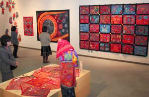 中山さんが制作したり、現地で収集したモラの作品展=草津市のしが県民芸術創造館で