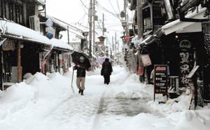 入り口付近をスコップで雪かきする職員ら=長浜市湖北町の小谷・江のふるさと館で