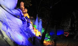 鮮やかにライトアップされる氷のオブジェやタルマの滝=高山市奥飛騨温泉郷一重ケ根で