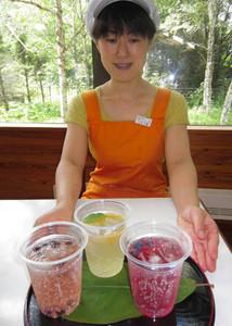 観光客に好評の新メニュー(左から)黒豆、甘夏、ブルーベリーのソーダ水=松本市奈川のながわ山彩館で