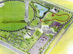 「軌道増設計画図」。右上の赤い路線が増設予定で、隣接する池の周囲が既設路線