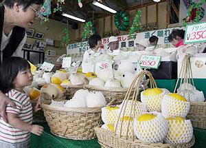 産地直送のメロンが並び買い物客でにぎわう直売所=豊橋市大崎町で