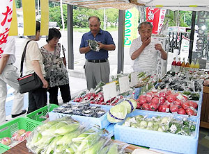 新鮮な農産物が並ぶ阿智パーキングの「やさい村」=阿智村駒場で