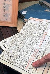 藤村の父の島崎正樹の蔵書。「重寛」と名前の書き込みもある=中津川市馬籠で