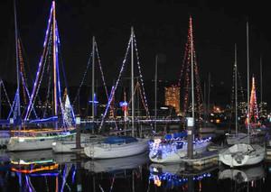 ヨットの船体やマストに飾り付けられた電球が琵琶湖面を照らし出す=大津市浜大津で