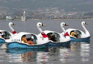 激走ぶりが話題を呼んだ足こぎボート競走=昨年4月29日、諏訪湖で