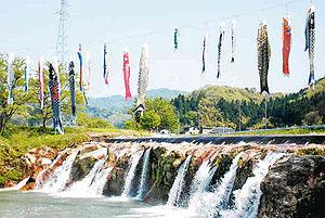色鮮やかに並ぶこいのぼり=小松市の中山間地・布橋町の西尾八景「十二ケ滝」で