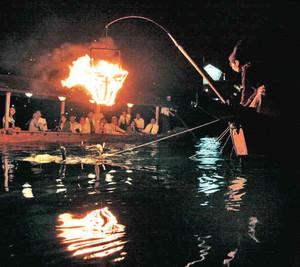 かがり火が川面を照らす中、勢いよく水中に潜る鵜の姿を屋形船から眺める乗船客=関市小瀬の長良川で