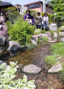 街角の知られざる水場を歩く参加者ら=松本市中央で