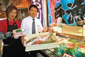 新たに設けられた鮮魚売り場=紀北町紀伊長島区東長島の道の駅「紀伊長島マンボウ」で