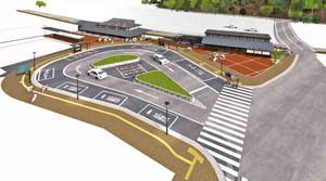 駅前広場の完成予想図。左奥が駅舎、右奥が休憩施設と「テキ6」の展示施設