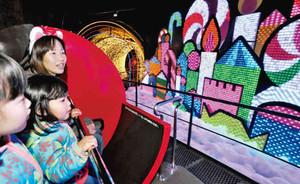 「くるみ割り人形」をテーマに、イルミネーションと音楽の世界が楽しめる新アトラクション=志摩市のスペイン村で