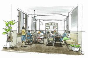 4月下旬にオープンする旧大津公会堂内レストランの完成予定図