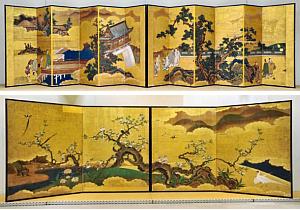 八事山興正寺に残されていた名古屋城二之丸御殿のふすま絵(上)「唐人物図屏風」と(下)「梨木禽鳥図屏風」=いずれも名古屋市東区の徳川美術館で