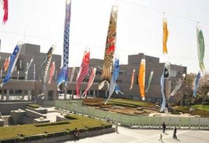風に吹かれてそよぐ大勢のこいのぼり=津市の県総合文化センターで