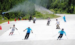 世界最長のサマーゲレンデをスイスイと滑走する関係者=郡上市白鳥町で